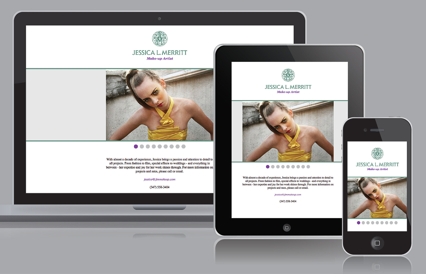 Responsive splashpage for JLM Make Up by Madonna+Child