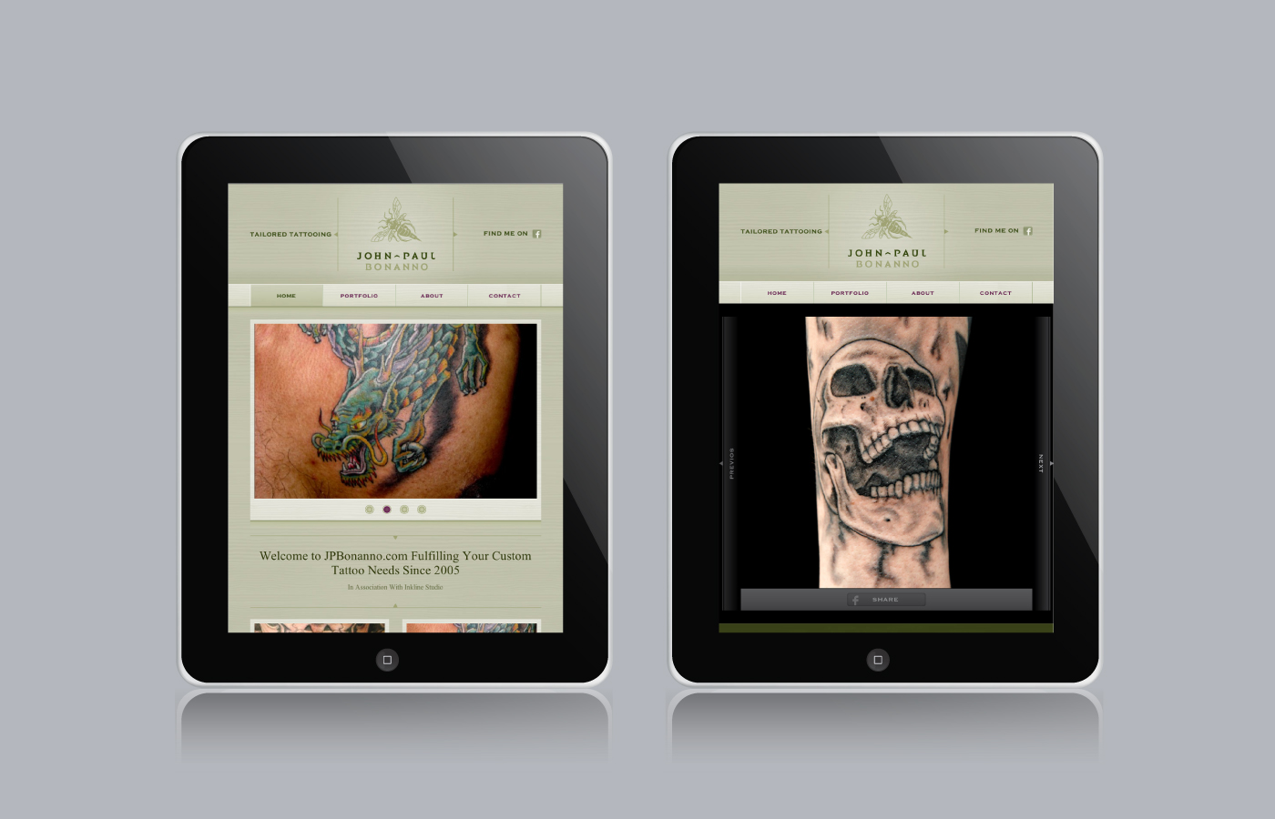 Responsive website for John-Paul Bonanno Tailored Tattooing by Madonna+Child